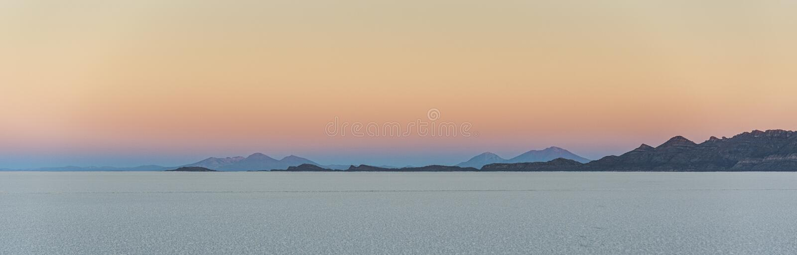 The world`s largest salt flat, Salar de Uyuni in Bolivia, photographed at sunrise stock image