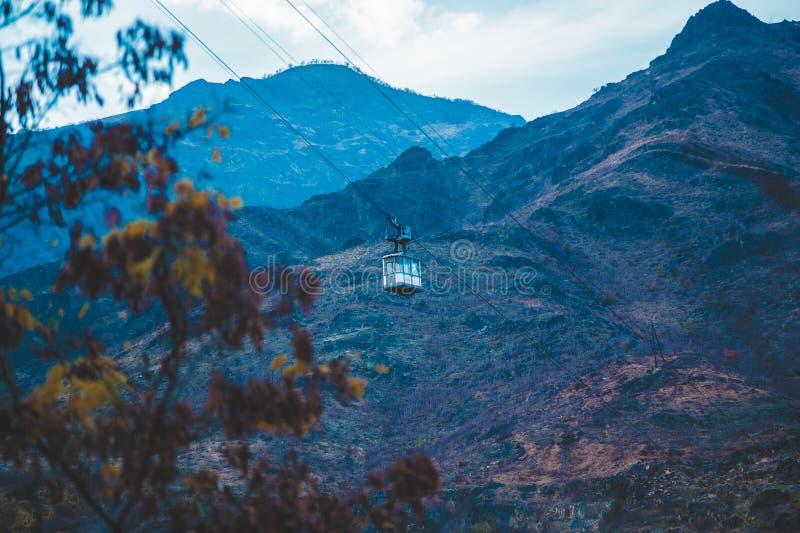 World`s longest ropeway. In Monastery of Tatev - Armenia royalty free stock images