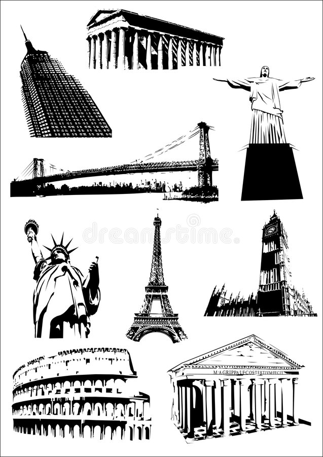 World's monuments (Landmarks). Illustration (with addiotional format added) with some of the most important monument of the world: the Roman Coliseum and the