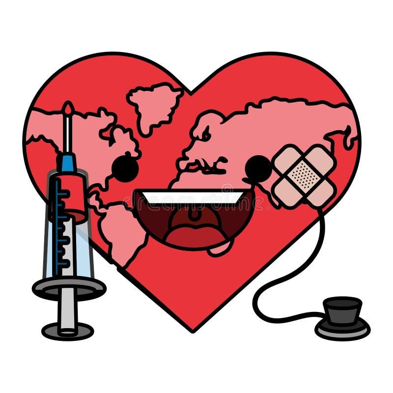 World saving eco cartoon. World saving eco heart hurt with stethoscope and bandage plaster cartoon vector illustration graphic design stock illustration