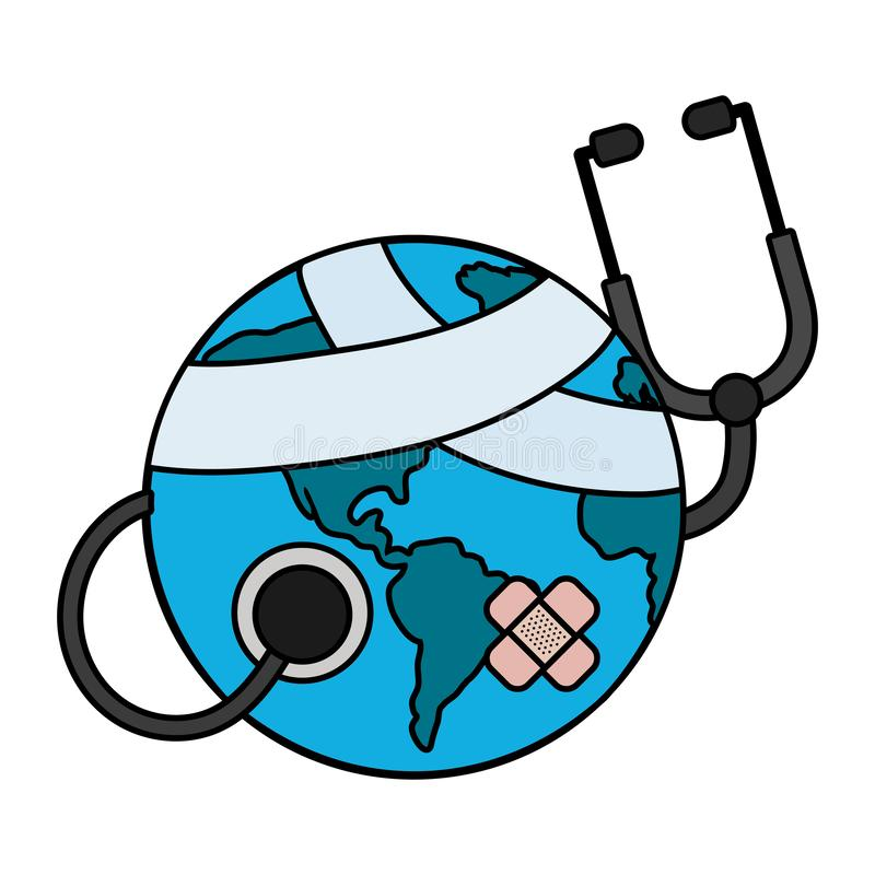 World saving eco cartoon. World saving eco hurt with stethoscope and bandage plaster cartoon vector illustration graphic design royalty free illustration