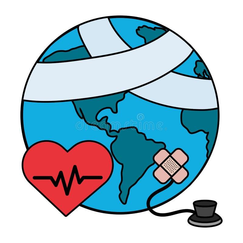 World saving eco cartoon. World saving eco hurt with stethoscope and bandage plaster cartoon vector illustration graphic design stock illustration