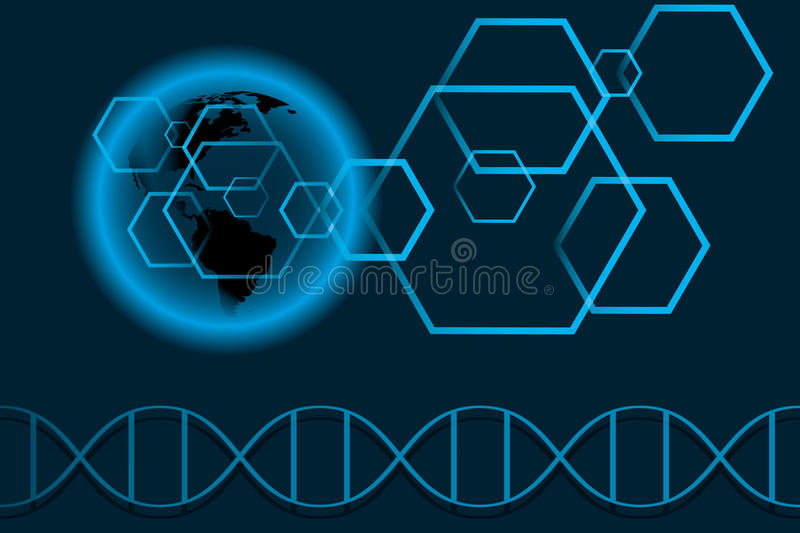 World of science. Abstract illustration of usa-map with cells and DNA - available as jpg and vector-file royalty free illustration
