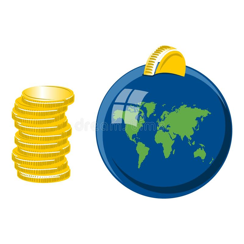 Download World shaped moneybox stock vector. Image of coins, banking - 13441963