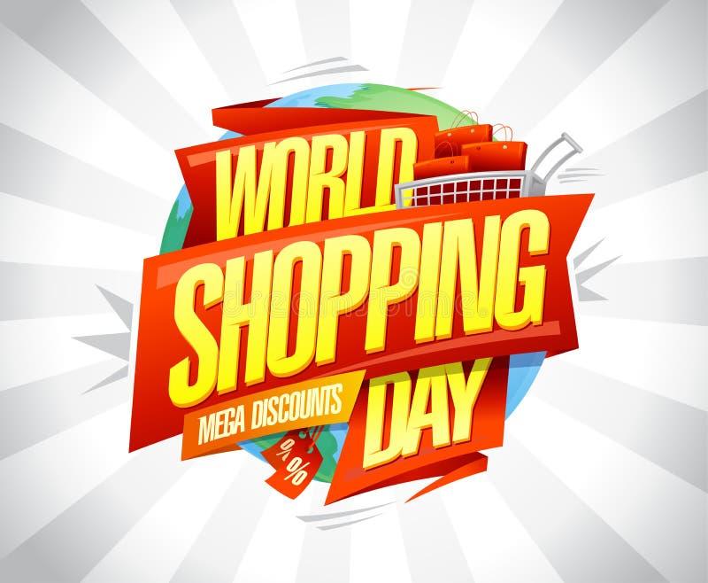 World shopping day sale, mega discounts, vector banner design vector illustration