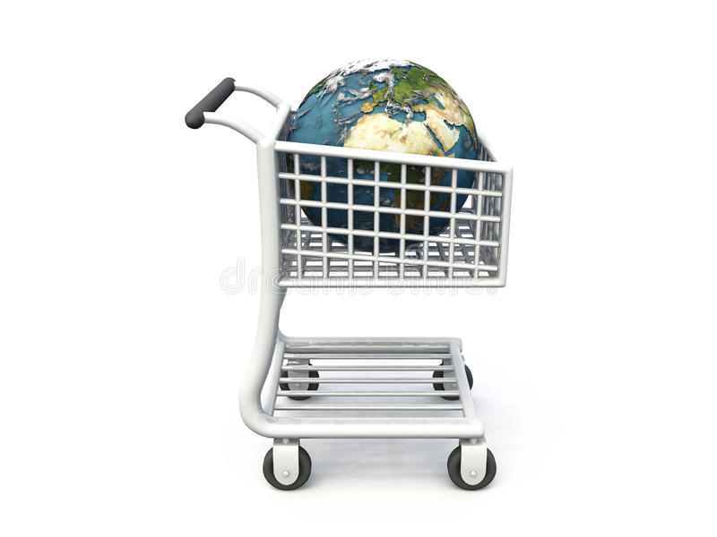 Download World in shopping trolley stock illustration. Image of white - 18439246