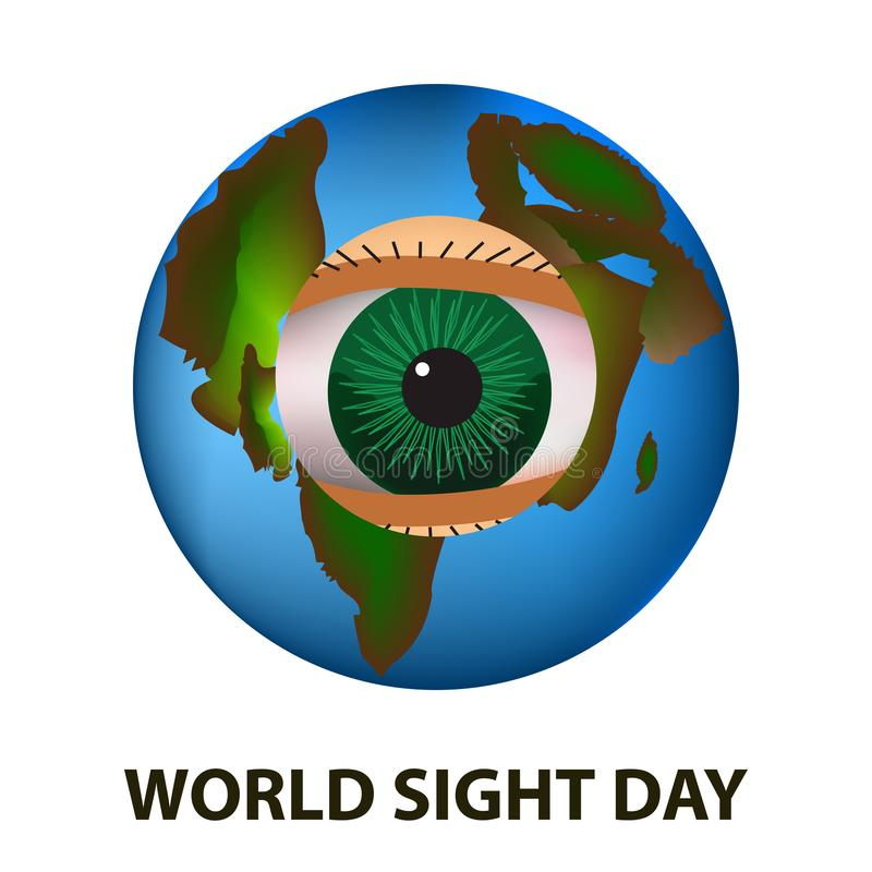 World Sight Day. October 11. Planet Earth. Eye anatomical structure. Vector illustration on isolated background.  vector illustration
