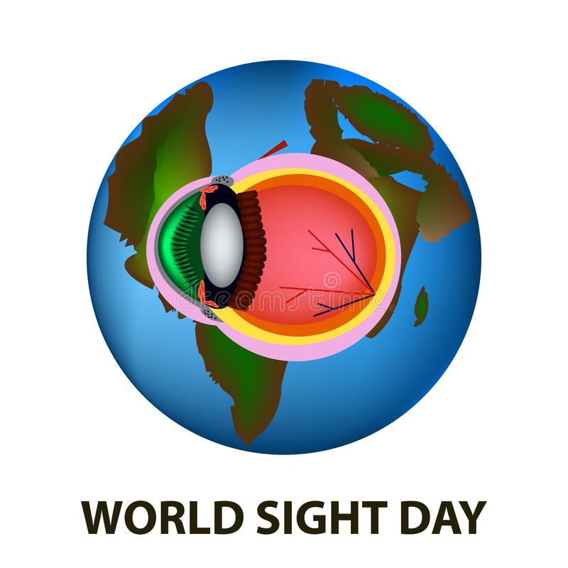 World Sight Day. October 11. Planet Earth. Eye anatomical structure. Vector illustration on isolated background.  royalty free illustration