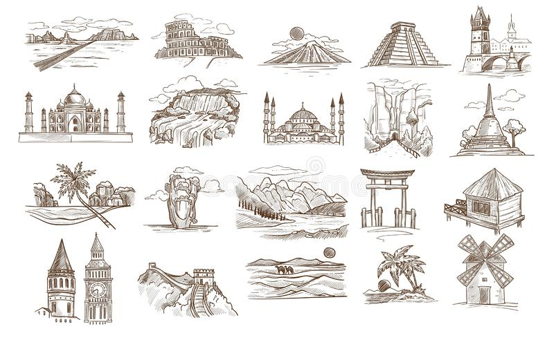 World sights and famous landmarks isolated buildings or landscapes sketches. Vector Texas desert and Coliseum Fuji mount and Mayan pyramid Taj Mahal, and royalty free illustration