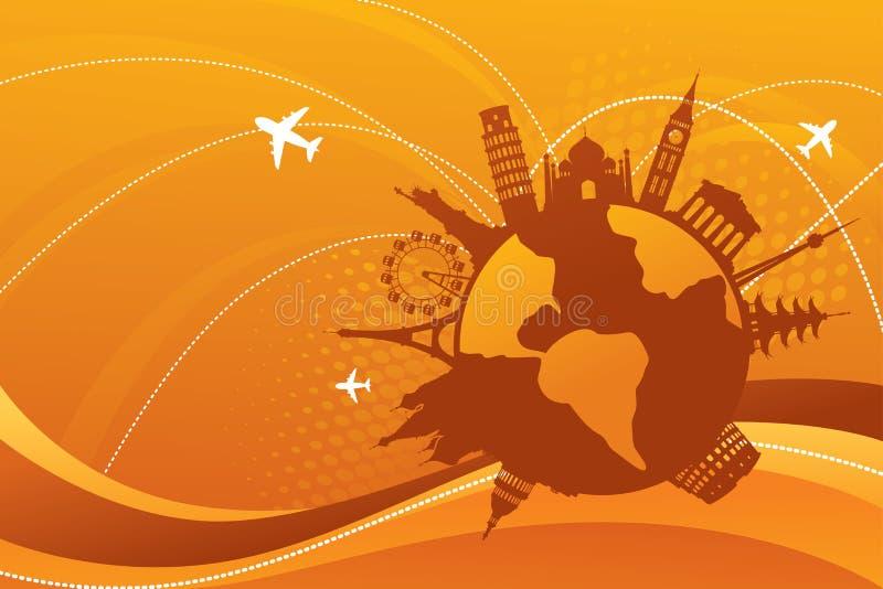World Sightseeing. Abstract orange travel destination background royalty free illustration