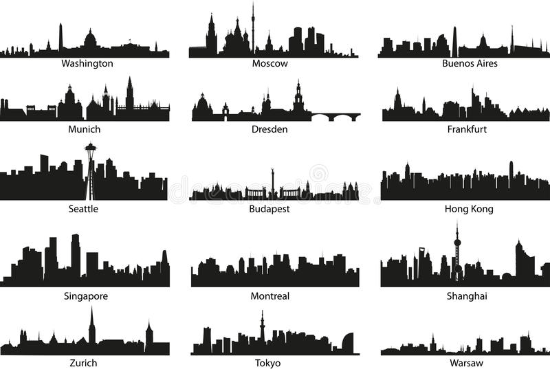 World silhouettes. World vector black skyline silhouettes vector illustration