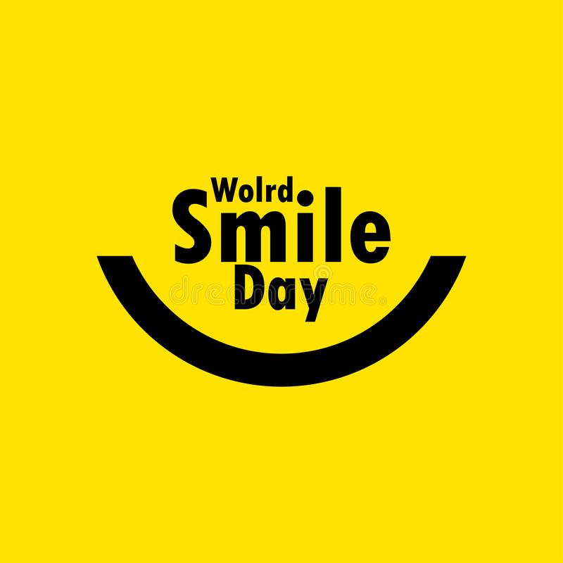 World Smile Day Celebration Vector Template Design Illustration. Happy, face, laughter, yellow, background, emoticon, card, joy, banner, object, cheerful stock illustration