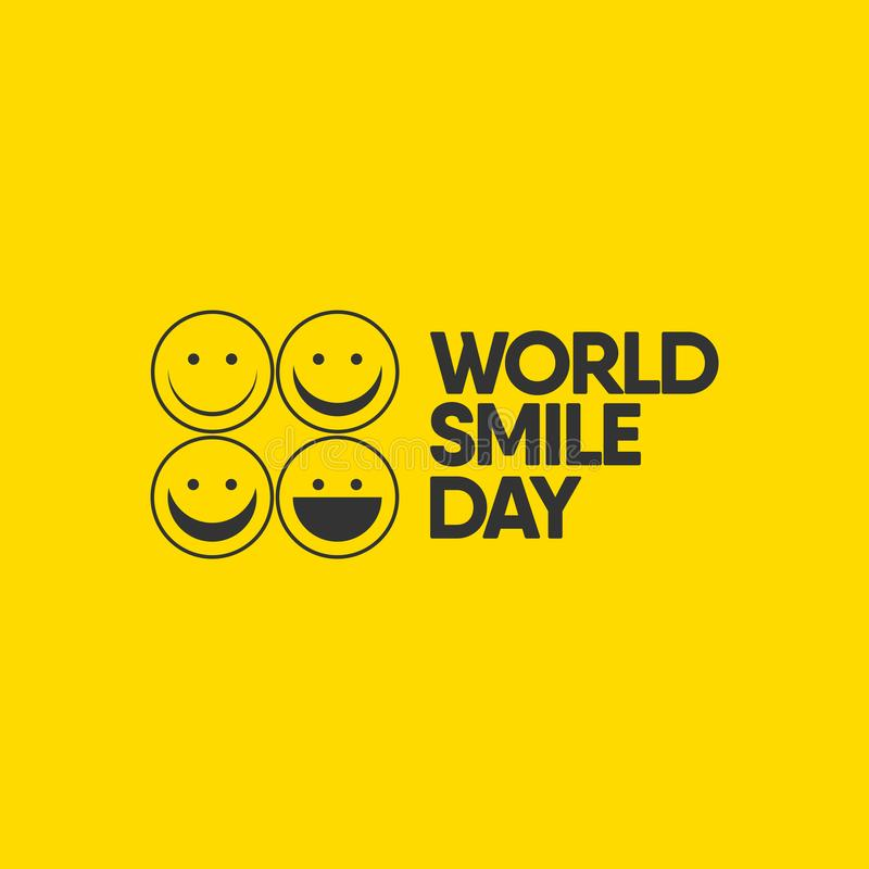 World Smile Day Celebrations Vector Template Design Illustration. Eye, birthday, tongue, office, greeting, happiness, expression, round, note, blank, color stock illustration