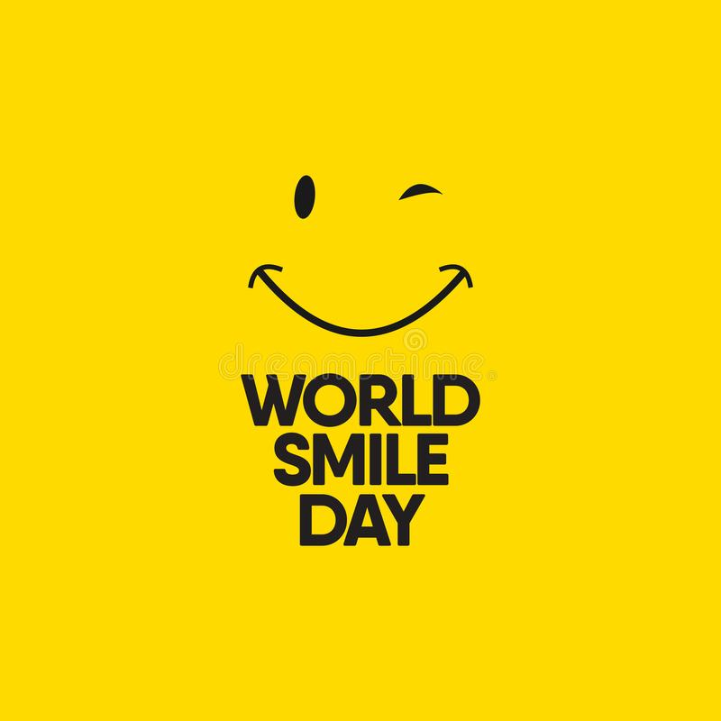 World Smile Day Celebrations Vector Template Design Illustration. Eye, birthday, tongue, office, greeting, happiness, expression, round, note, blank, color vector illustration