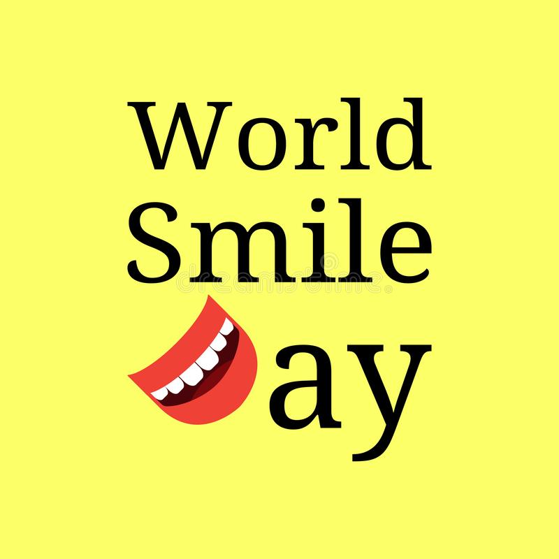 World Smile Day. Event name. Letter D - smiling mouth. Yellow background royalty free illustration