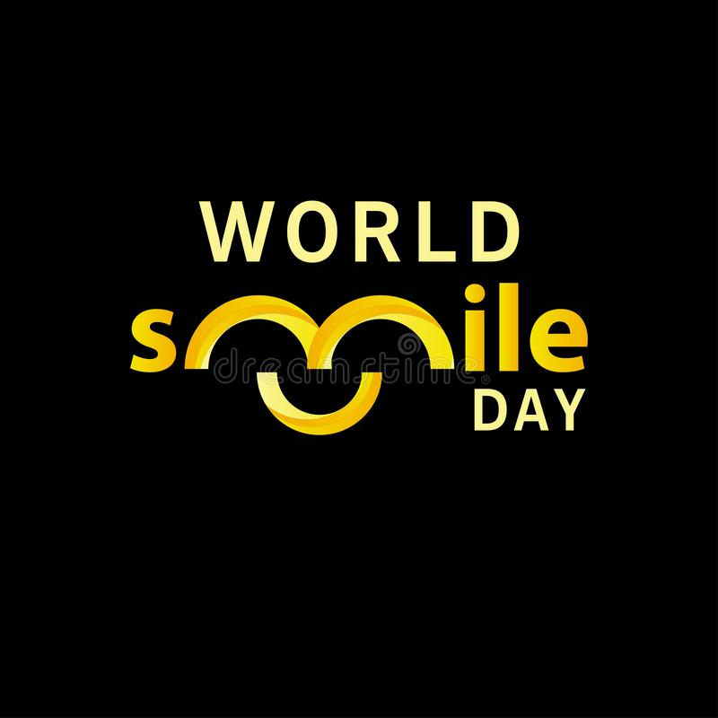 World smile day gradient design vector template illustration. Hand, round, greeting, white, circle, october, office, holiday, happiness, expression, tongue stock illustration