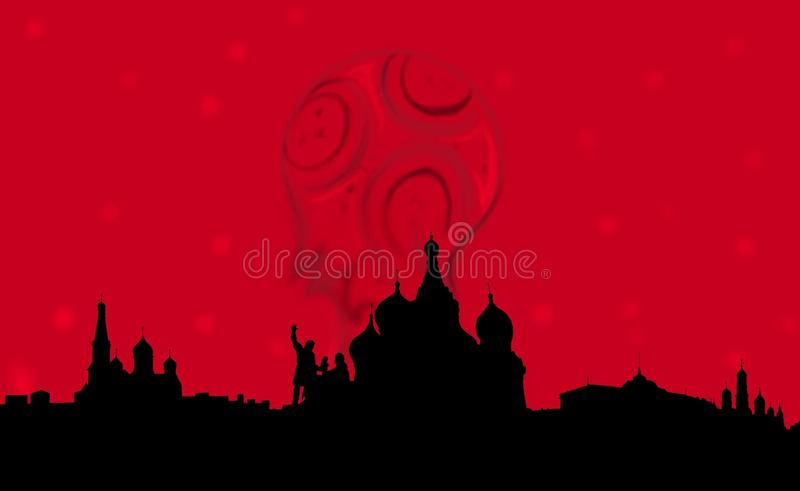 Russia fifa 2018. World soccer championship Russia 2018, colors of the national Russian flag in the background or sunset in the background, showing the Russian vector illustration
