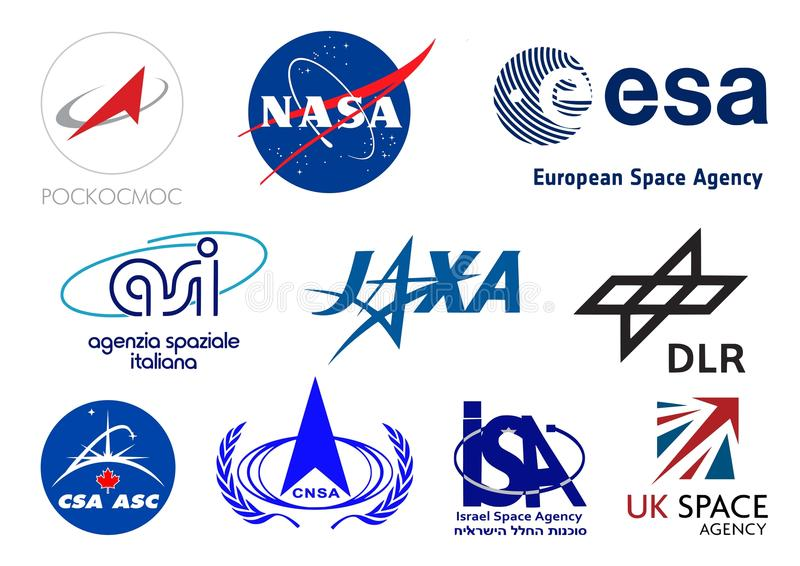 World space agencies logos. Vector logos collection of the most important space agencies of the world. Additional Vector file available for single elements usage stock illustration
