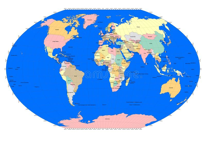 World sphere with countries grid lines blue oceans stock download world sphere with countries grid lines blue oceans stock illustration illustration of gumiabroncs Gallery