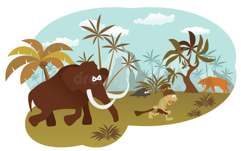 World of stone age. Vector illustration of world of stone age (mammoth and caveman vector illustration
