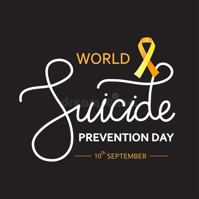 World Suicide Prevention Day concept with awareness ribbon. Dark vector illustration for web and printing. World Suicide Prevention Day concept with awareness royalty free illustration