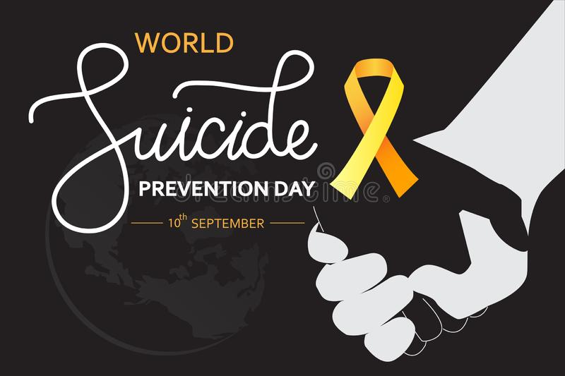 World Suicide Prevention Day concept with awareness ribbon. Dark vector illustration for web and printing. World Suicide Prevention Day concept with awareness vector illustration