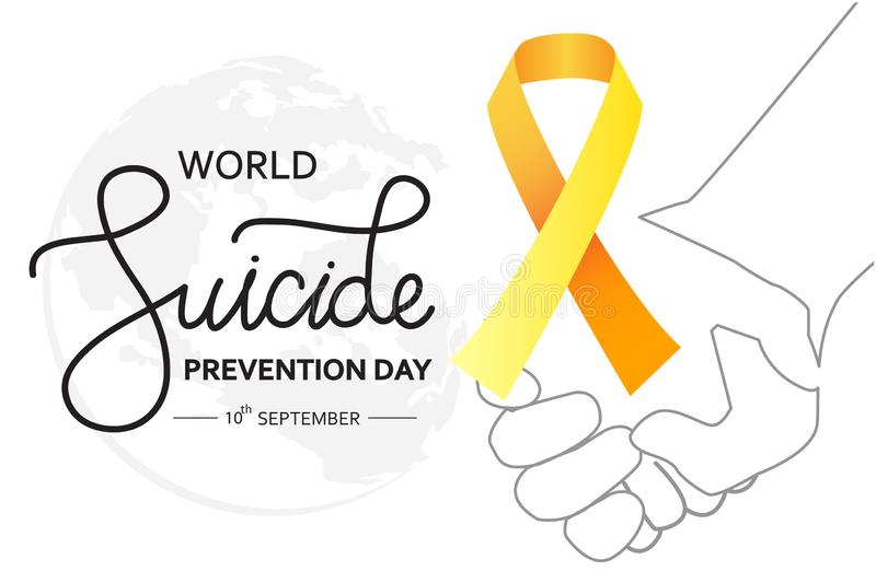 World Suicide Prevention Day concept with awareness ribbon. white background vector illustration for web and printing. World Suicide Prevention Day concept with royalty free illustration
