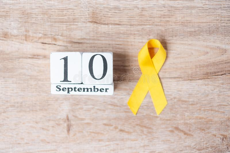 World Suicide prevention day  10 September, Yellow Ribbon for supporting people living and illness. Stop and Save Suicidal stock photos