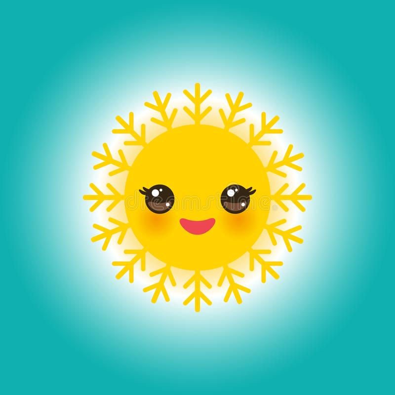 World Sun day may 3, Kawaii funny yellow sun with cute smiles pink cheeks and eyes on sky blue background. Vector. Illustration vector illustration