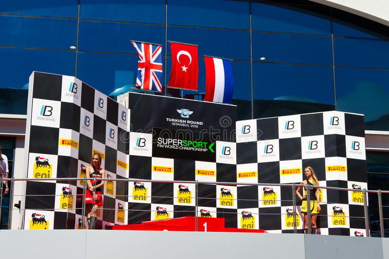 World Supersport Championship. Podium of World Supersport Championship in Istanbul Park on September 15, 2013 in Istanbul, Turkey royalty free stock photos