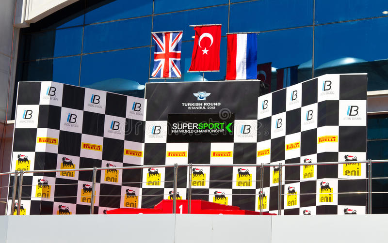 World Supersport Championship. Podium of World Supersport Championship in Istanbul Park on September 15, 2013 in Istanbul, Turkey royalty free stock image