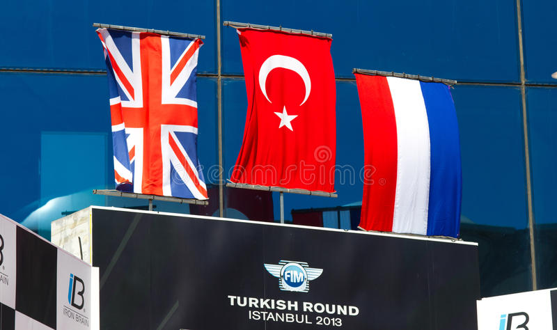 World Supersport Championship. Podium of World Supersport Championship in Istanbul Park on September 15, 2013 in Istanbul, Turkey royalty free stock photography