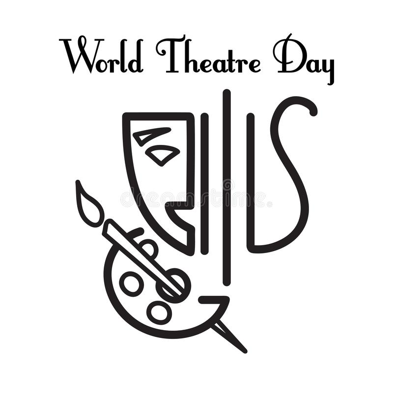 World theatre day. Vector greeting card stock illustration
