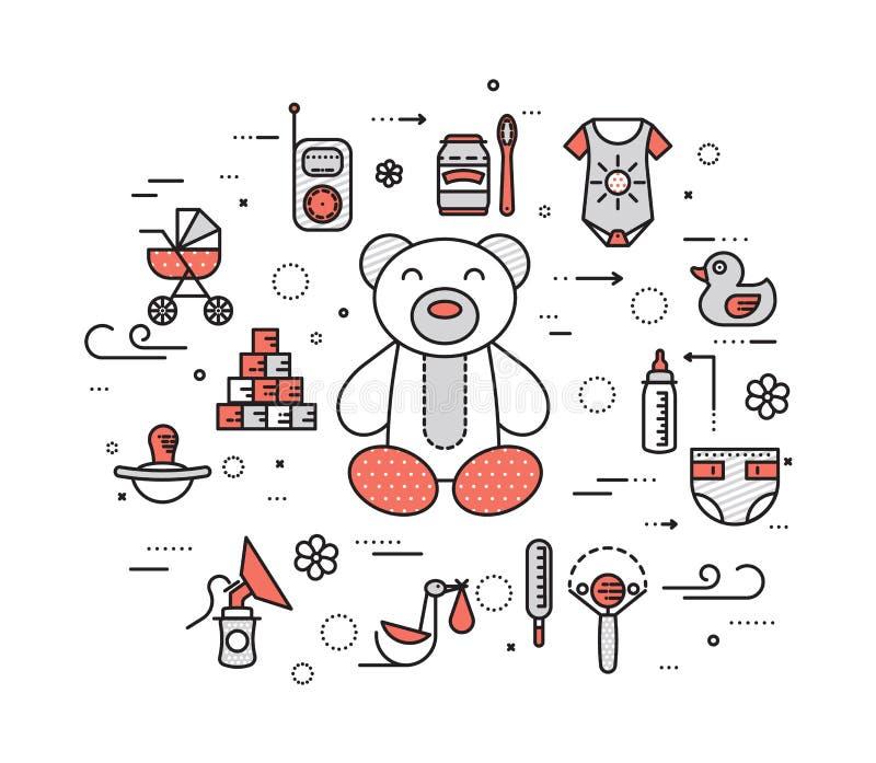 World thin line breastfeeding week and kids elements flat icon set concept. Child outline illustrations design.  royalty free illustration
