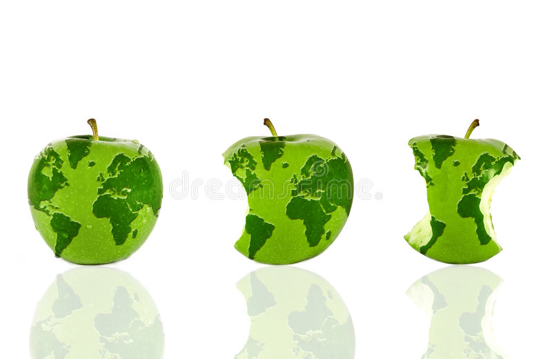 The world in three apples vector illustration