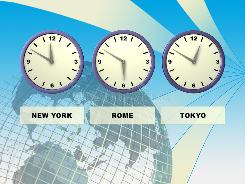 World time. Three clocks showing different time zones, Earth on background. Digital illustration royalty free illustration