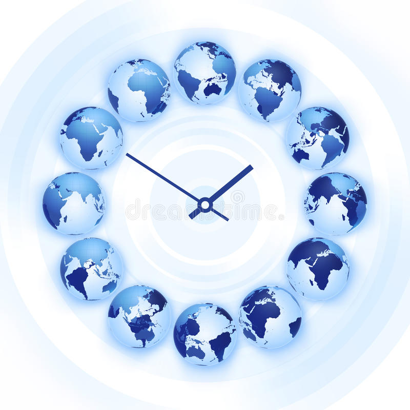 World time clock. With Earth globes instead of symbols stock illustration