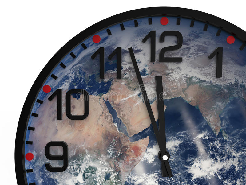 World time doomsday 23.57 hrs / Elements of this image furnished by NASA. World time doomsday 23.57 hrs., Just three minutes End of the World. Elements of this royalty free stock images