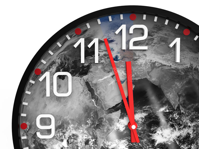 World time doomsday 23.57 hrs / Elements of this image furnished by NASA. World time doomsday 23.57 hrs., Just three minutes End of the World. Elements of this stock images