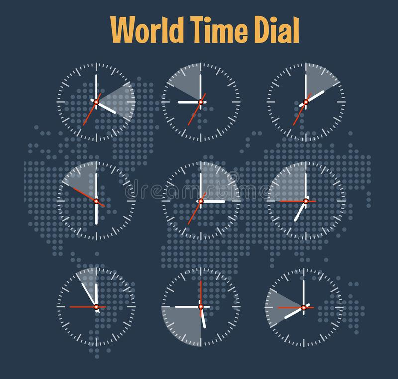 World time infographics. On the map background vector illustration