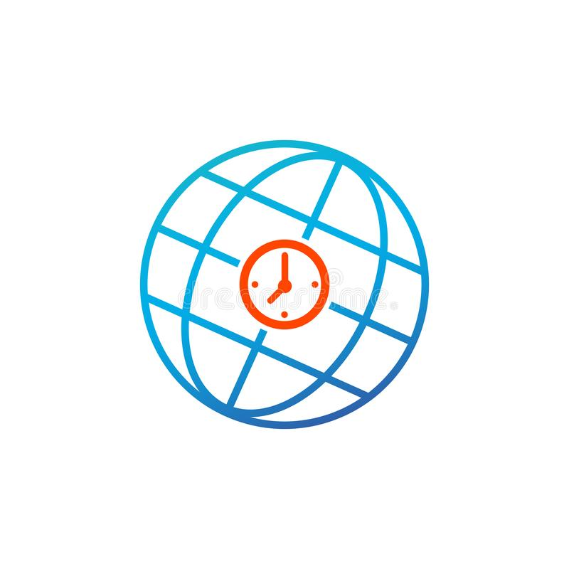 World time sign icon. Universal time globe symbol. Blue shiny button. Modern UI website button. Vector illustration isolated on royalty free illustration