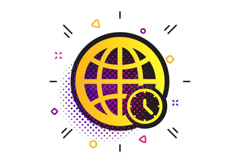 World time sign icon. Universal time symbol. Vector. World time sign icon. Halftone dots pattern. Universal time globe symbol. Classic flat world time icon stock illustration