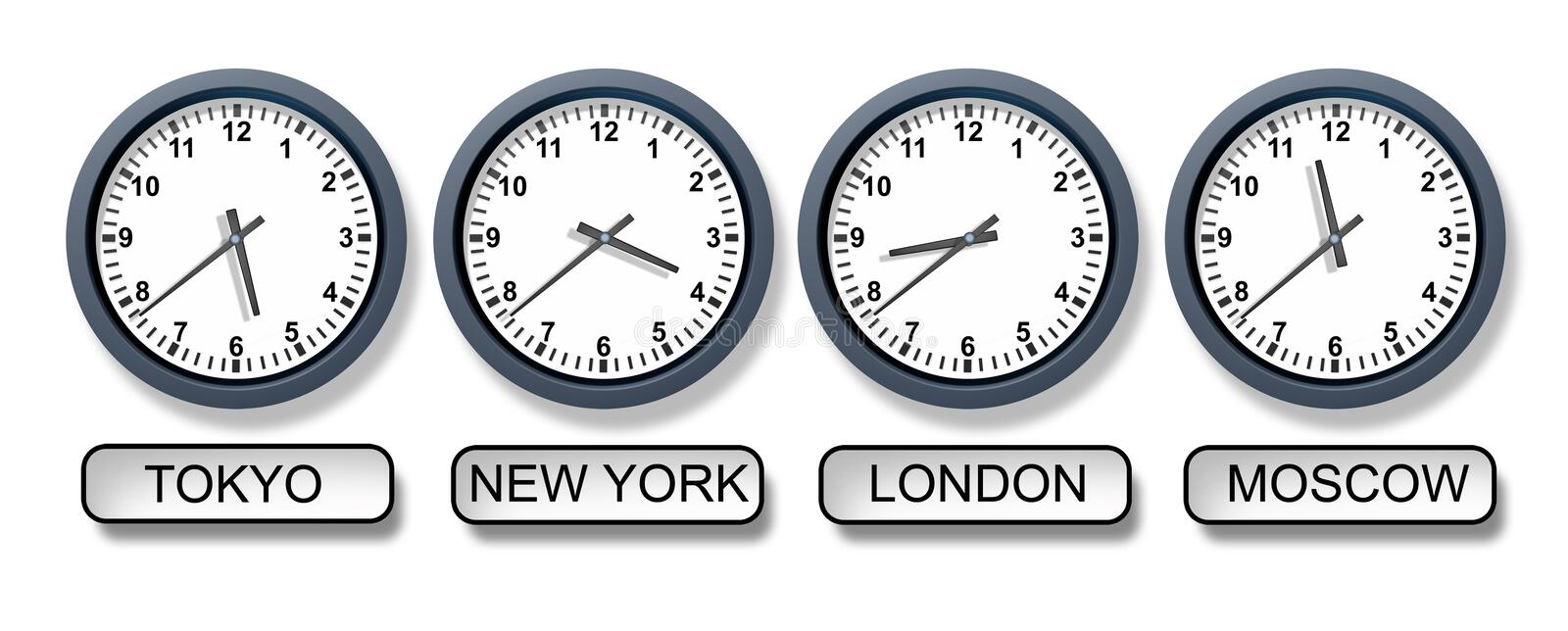 World Time Zone Clocks royalty free illustration