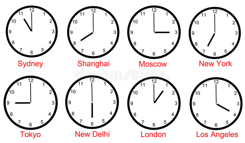 World time zones. With clocks indicating the time of some big cities around the world vector illustration