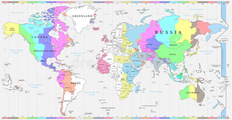 World time zones map and political map of the world stock vector download world time zones map and political map of the world stock vector illustration gumiabroncs Images