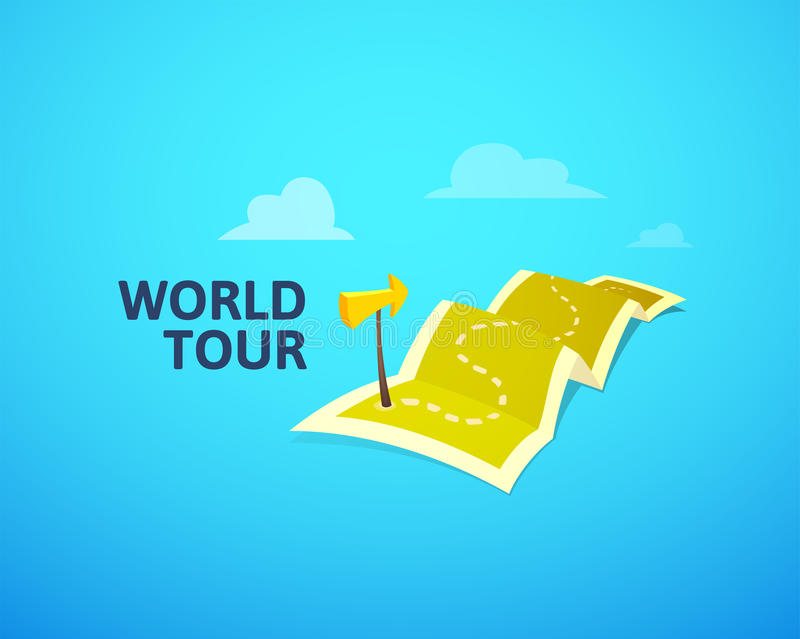 World tour concept logo long route in travel map with guide marker download world tour concept logo long route in travel map with guide marker stock vector gumiabroncs Images