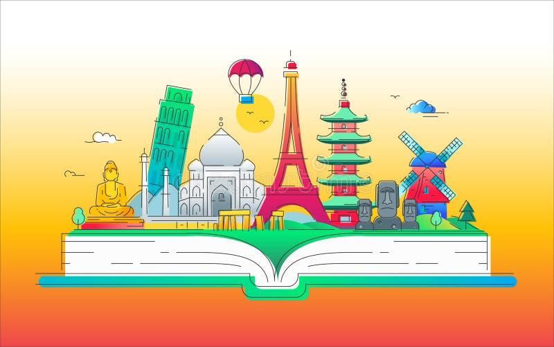 World tour- vector line travel illustration. World tour - modern vector line travel illustration. Discover India, Japan, France, Italy, Netherlands. Have a trip stock illustration