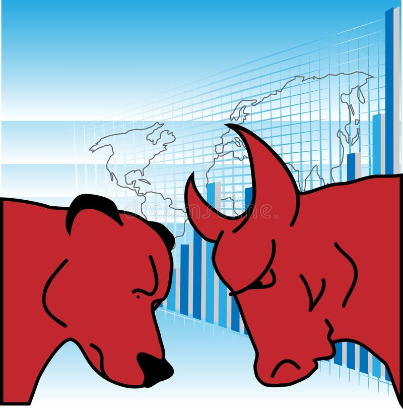 World trade. Illustration of word map with bar chart and red bear and oxen in foreground representing world trade stock illustration