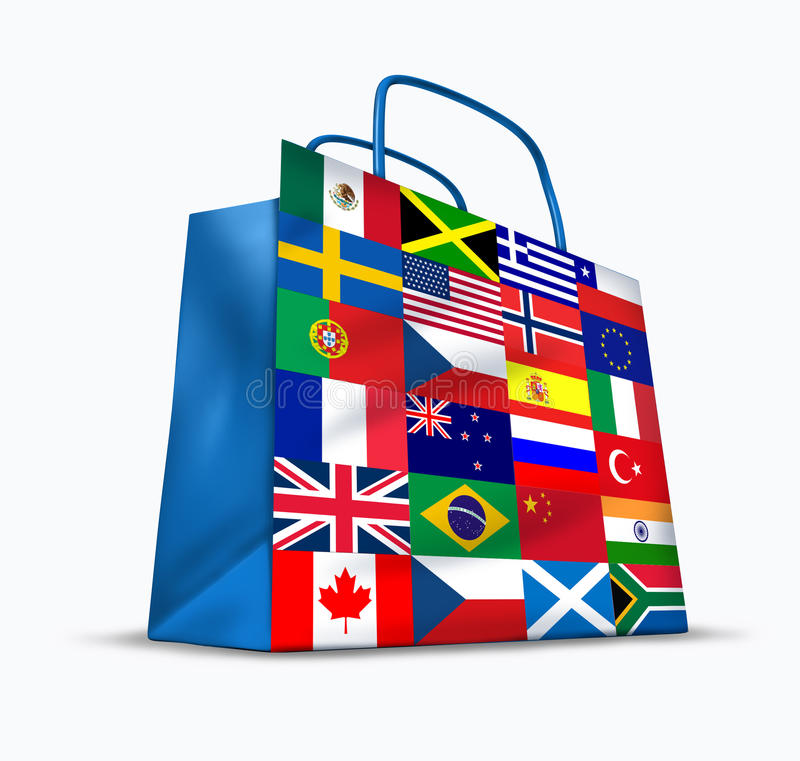 World Trade. And global commerce as an international symbol of business trading in exports and imports for the entire globe represented by a financial shopping royalty free illustration