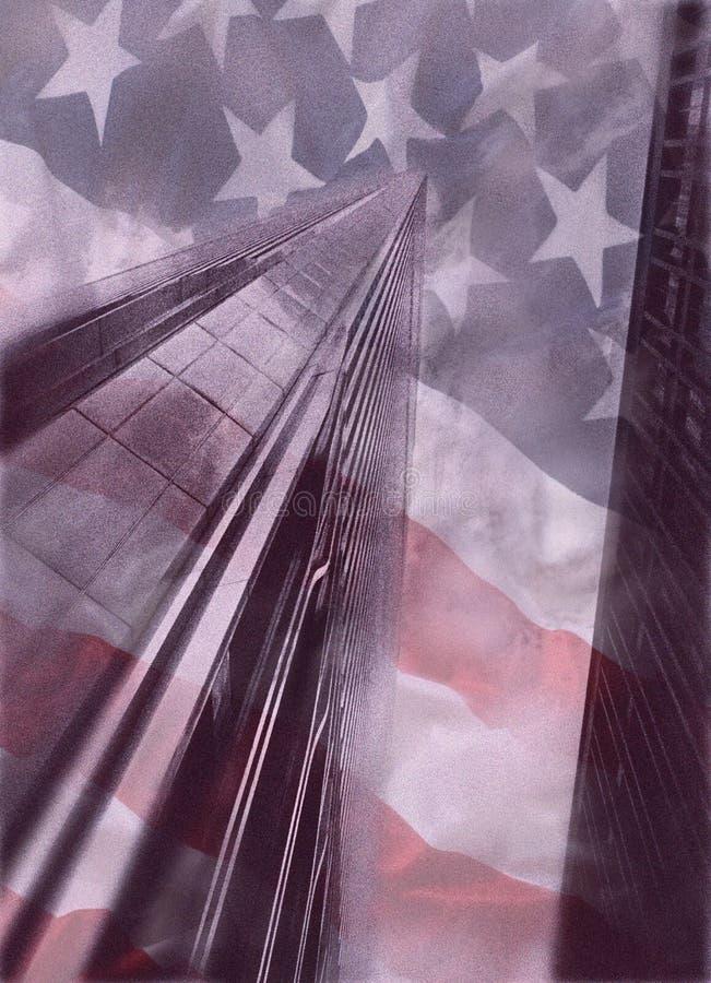 World Trade Center avec le drapeau américain illustration libre de droits